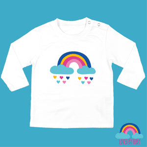 Rainbow Baby Organic Long Sleeved Baby White T-Shirt - Rainbow Hearts Design - Ruby and the Rainbow