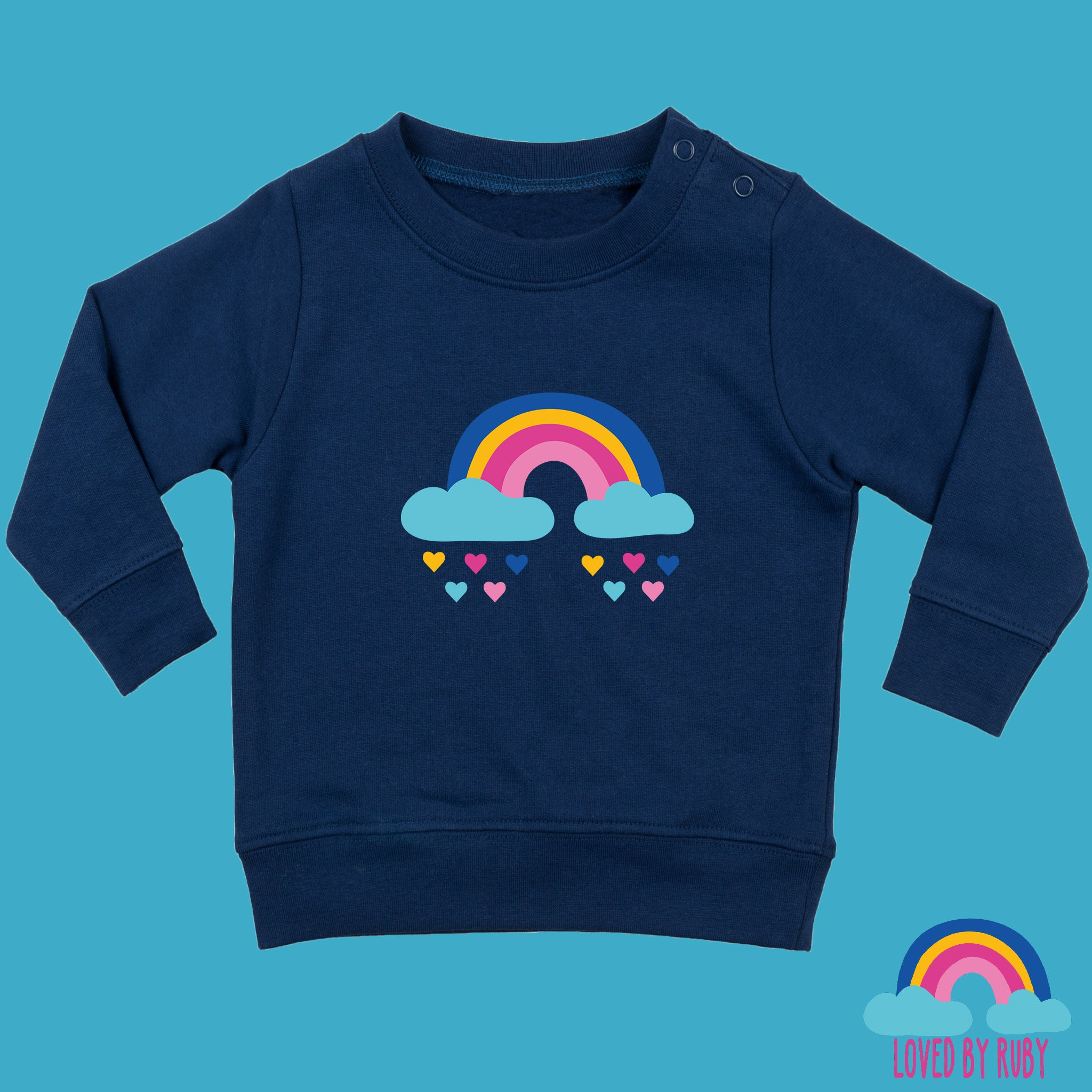Rainbow Baby Toddler Jumper in Navy Blue Rainbow Hearts Design - Ruby and the Rainbow