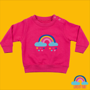 Rainbow Baby Toddler Jumper in Pink - Rainbow Hearts Design - Ruby and the Rainbow