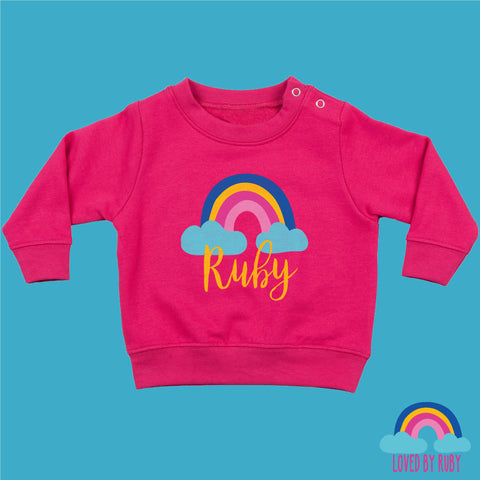 Personalised Rainbow Baby Toddler Jumper in Pink - Rainbow Hearts Design - Ruby and the Rainbow