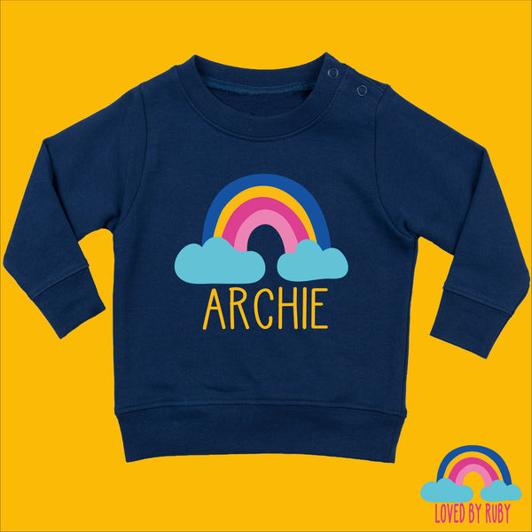 Personalised Rainbow Baby Toddler Jumper in Navy Blue - Rainbow Hearts Design - Ruby and the Rainbow