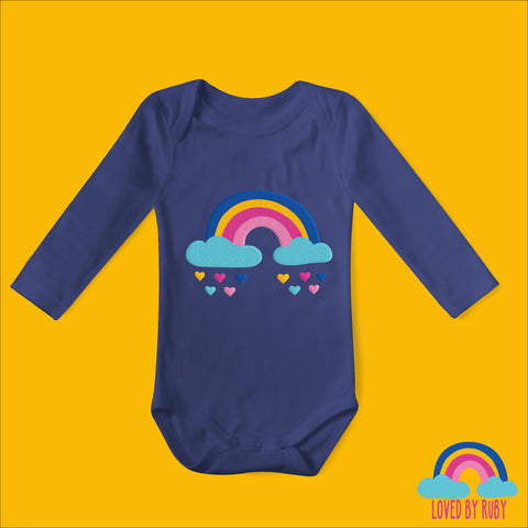 Rainbow Baby Vest - Navy Blue With Rainbow Hearts Design - Ruby and the Rainbow