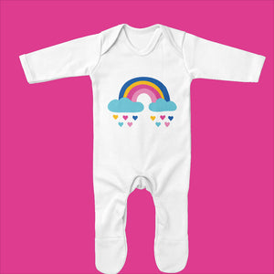Rainbow Baby Sleepsuit- Organic Baby Grow with Rainbow Hearts Design - Ruby and the Rainbow