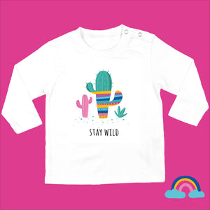 Organic Long Sleeved Baby T-Shirt in White - Stay Wild Design. - Ruby and the Rainbow