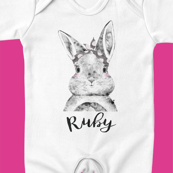 Organic Baby / Toddler T-shirt-Bunny Bow Design - Ruby and the Rainbow