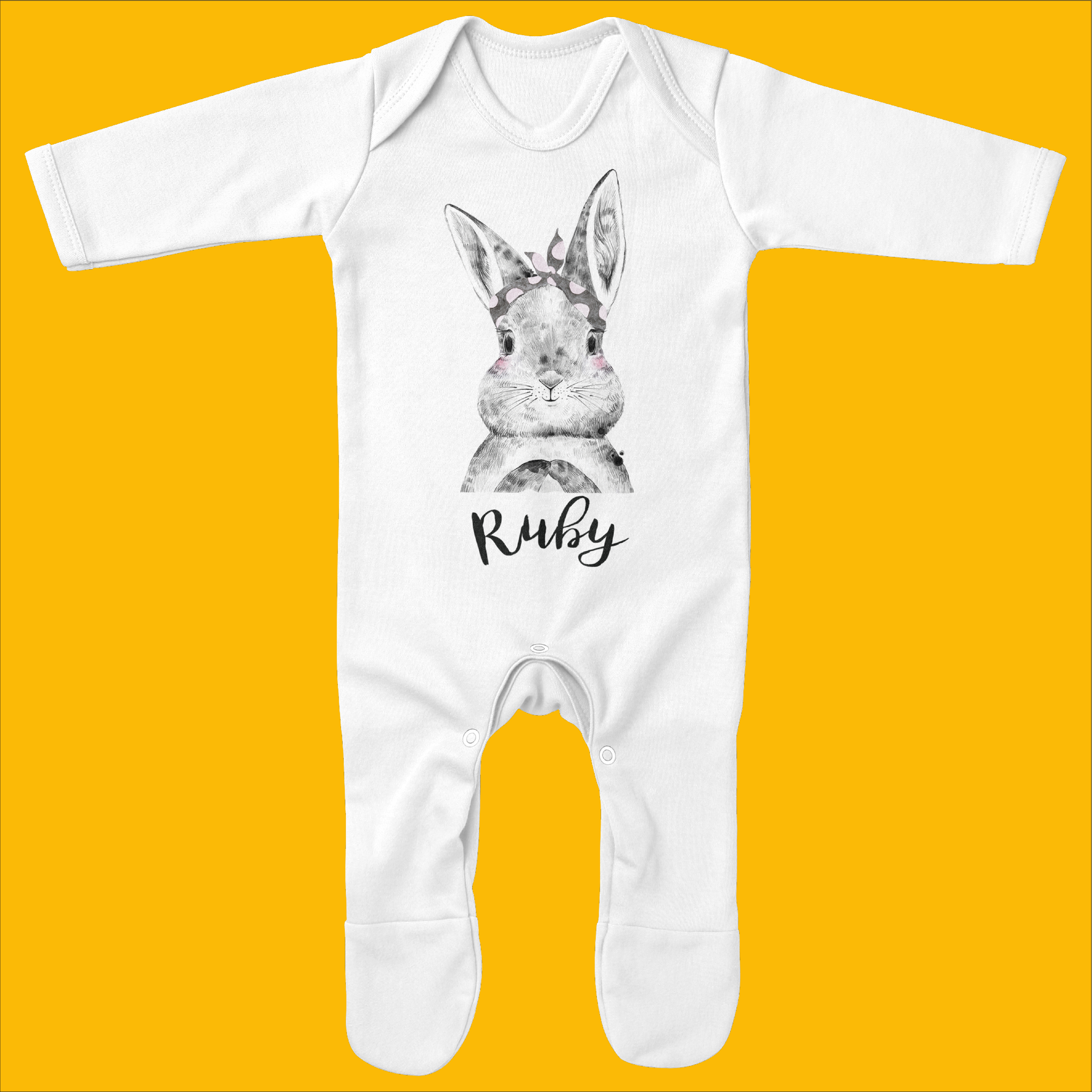 Personalised Organic Baby Grow with Bunny Bow Design - Ruby and the Rainbow