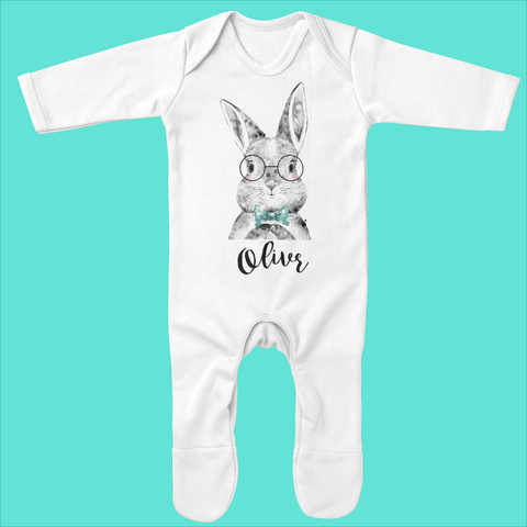Personalised Organic Baby Grow with Bunny Bowtie Design - Ruby and the Rainbow