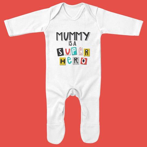 Organic Baby Grow - Mummy is a Superhero - Ruby and the Rainbow