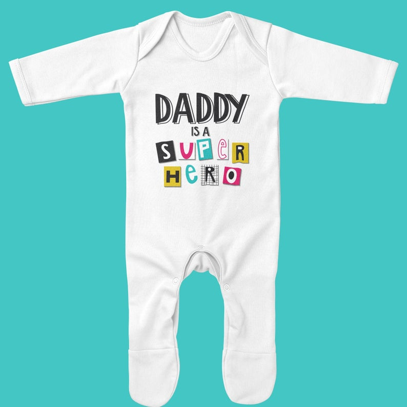 Organic Baby Grow - Daddy is a Superhero - Ruby and the Rainbow
