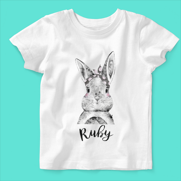 Personalised Organic Short Sleeved Baby T-shirt in Bunny Bow Design - Ruby and the Rainbow