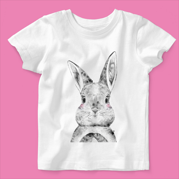 Personalised Organic Baby T-shirt in Bunny Design - Ruby and the Rainbow