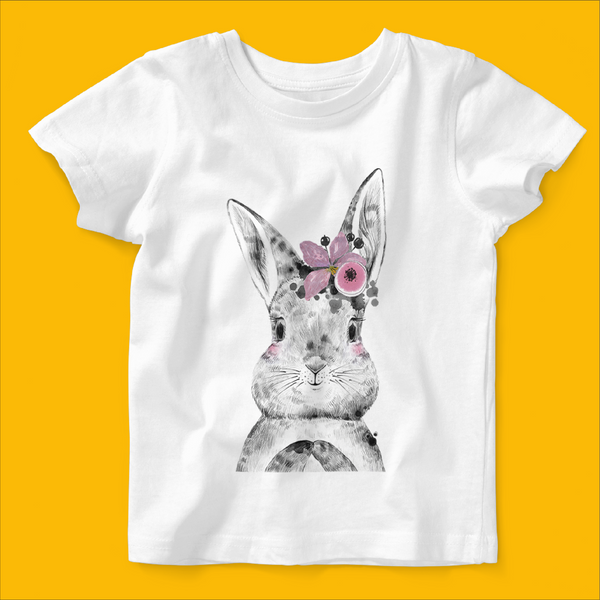 Personalised  Organic Baby T-shirt in Bunny Flower Design - Ruby and the Rainbow
