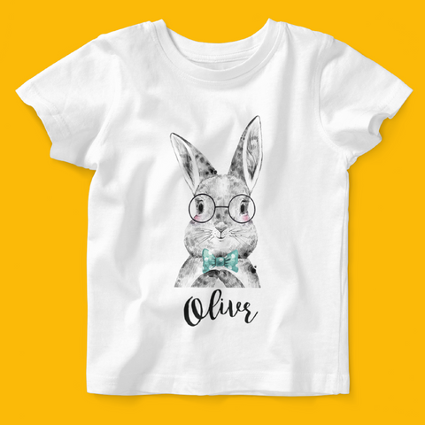 Personalised Organic Baby T-shirt in Bunny Bow Tie Design - Ruby and the Rainbow