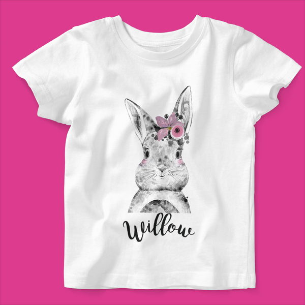 Organic Baby / Toddler T-shirt- Bunny Flower Design - Ruby and the Rainbow
