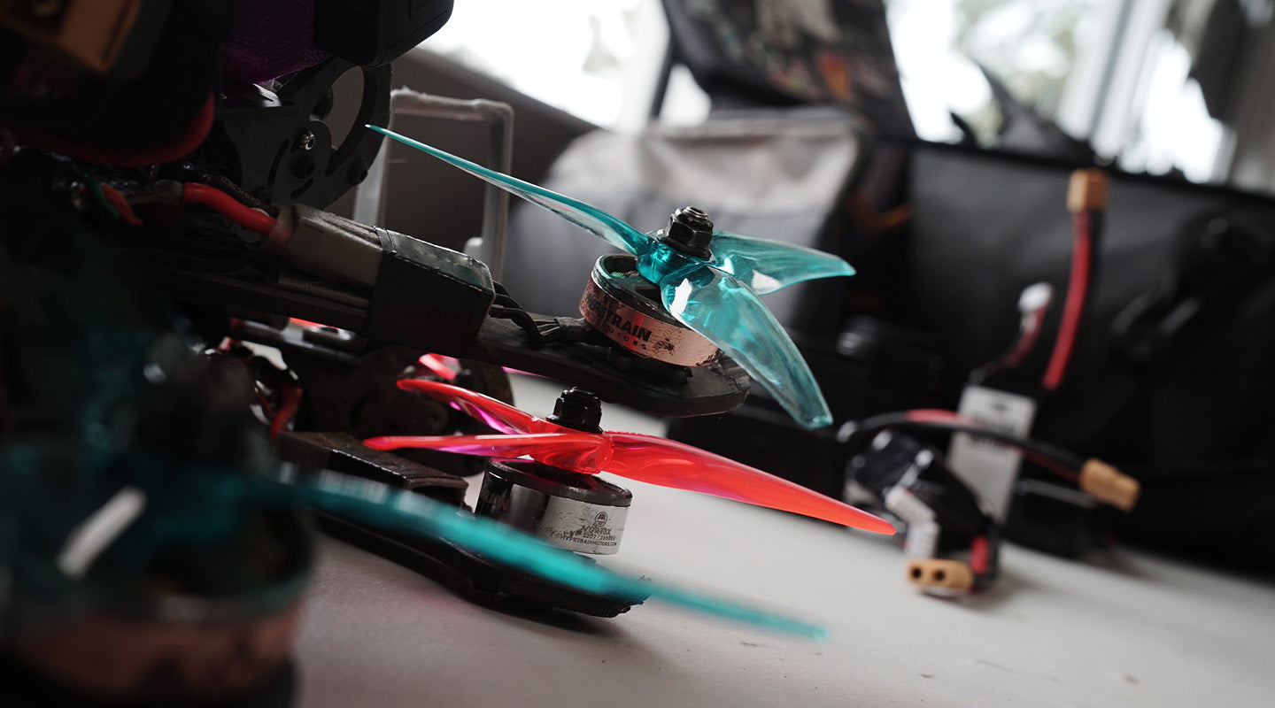 FPV Flight System Drones with Colored Propellers