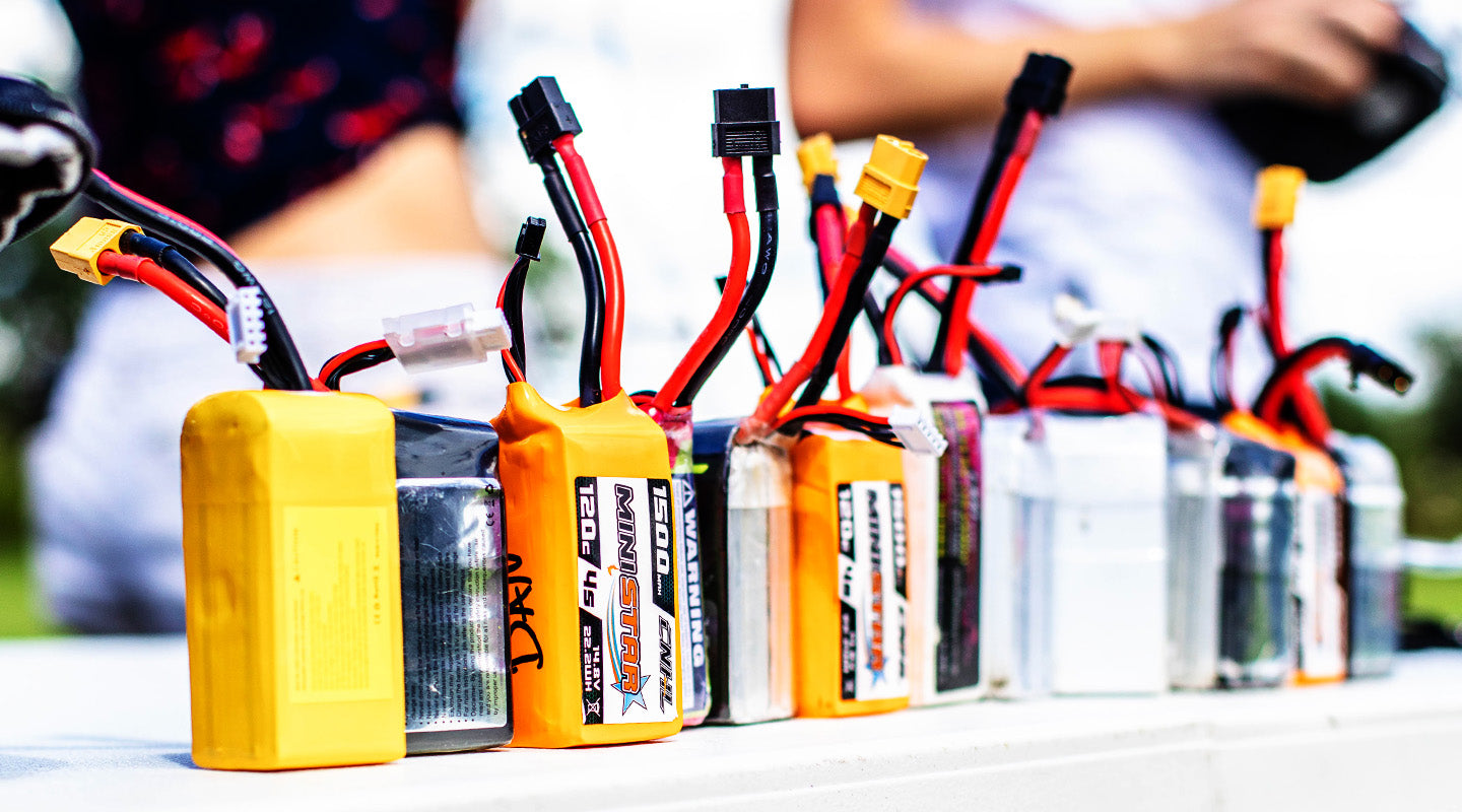 Multiple FPV Drone Batteries waiting to be flown