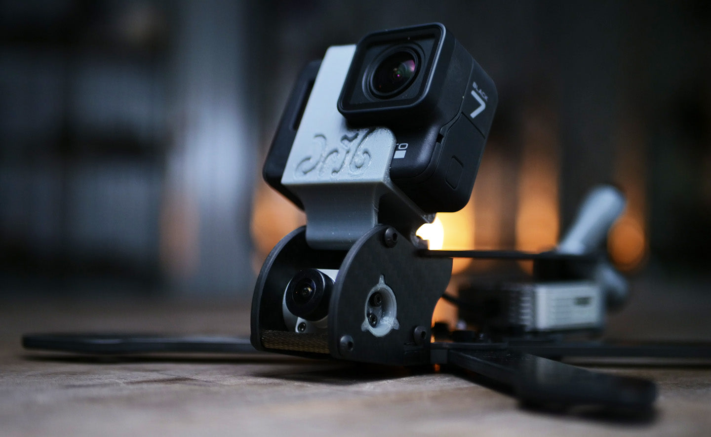 A Skyeliner HD Frame Showing the DJI camera and the GoPro Mount.