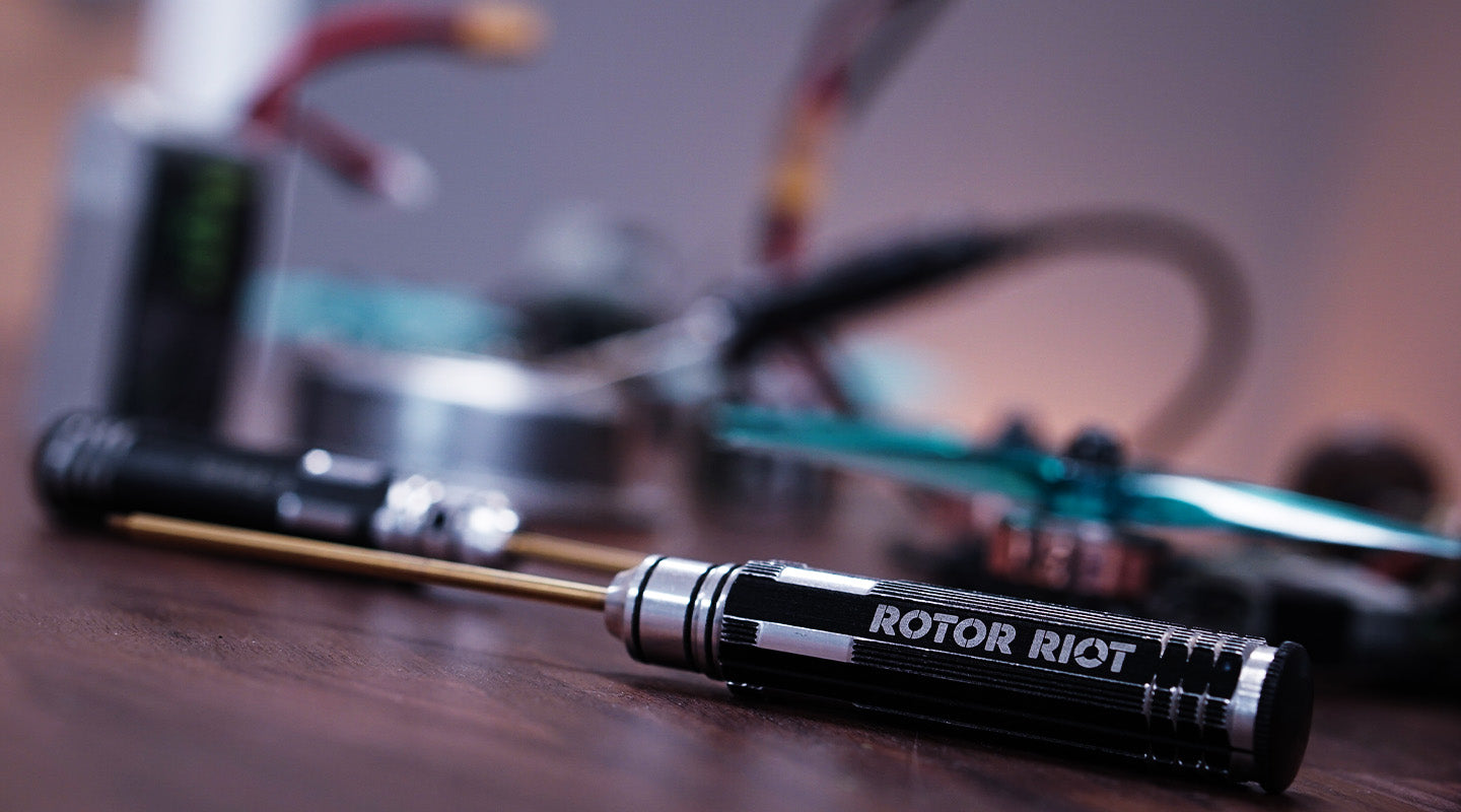 A Rotor Riot Hex Tool Being Used To Build A FPV Drone