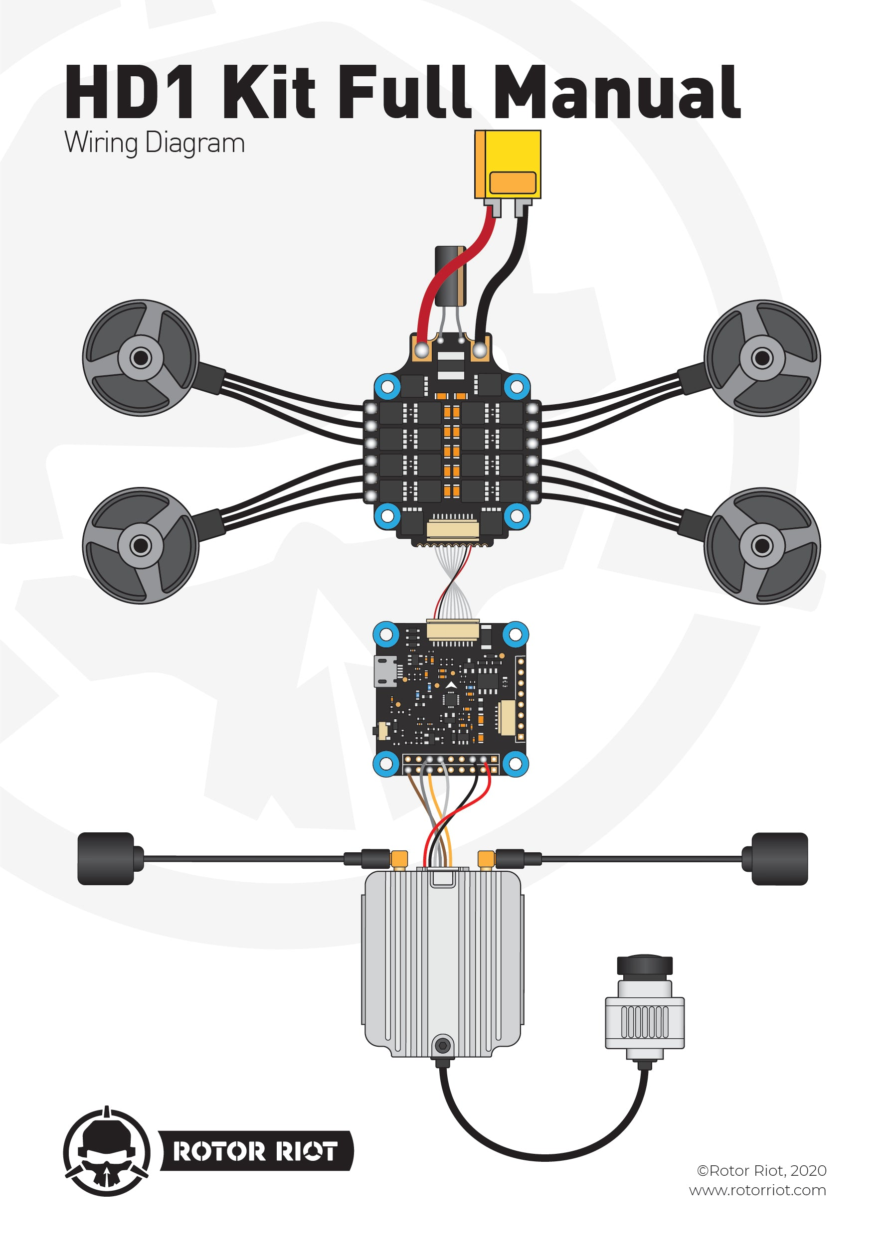 Rotor Riot HD1 Kit Full Manual Wiring Diagram with DJI Air Unit