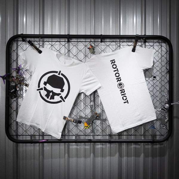 Rotor Riot T-Shirt White with Black Skull