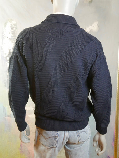 Double-Breasted Navy Blue Knit Cardigan, 1990s Vintage, Made in Denmark: XL (44 to 46 US/UK) - DownShifting Vintage Menswear