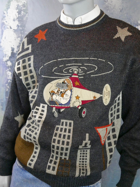 Gray Knit Sweater with Hippo Flying Helicopter on Front: Size Medium (38 to 40 US/UK) - DownShifting Vintage Menswear