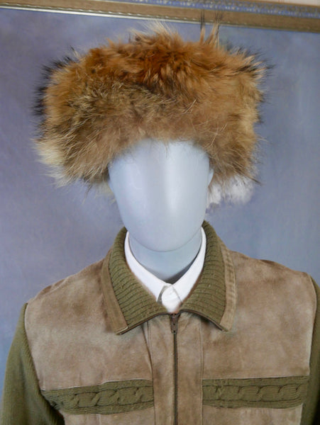 Davy Crockett Hat, Fox Fur Trapper Hat with Tail: Size XL (7 3/4 US, 7 5/8 UK, 62 EU, 24.5 inches) - DownShifting Vintage Menswear