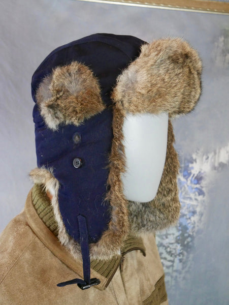 Trapper Hat,  Swedish Vintage Navy Blue with Gray Rabbit Fur Earmuff Hat: Size Large (7 1/2 US, 7 3/8 UK, 60 EU, 23 5/8 inches) - DownShifting Vintage Menswear