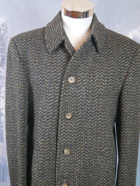 Tweed Wool Jacket, 1990s Italian Vintage Brown Herringbone Car Coat: Size Medium (36 to 38 US/UK) - DownShifting Vintage Menswear