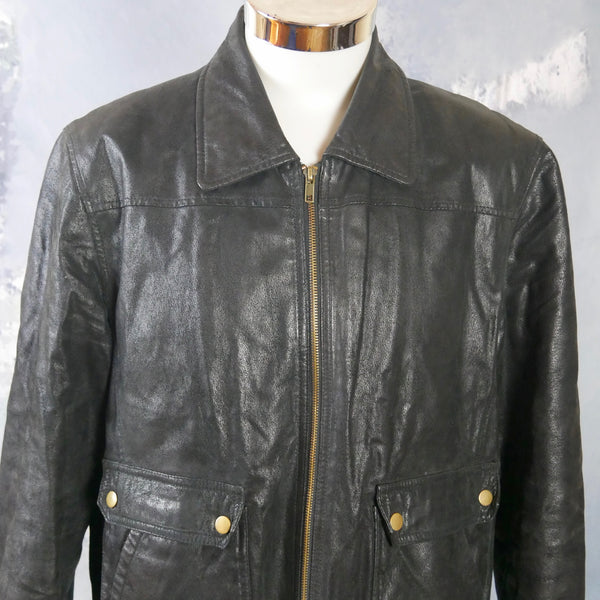 1990s Vintage Black Leather Bomber Jacket: Size 40 US/UK - DownShifting Vintage Menswear