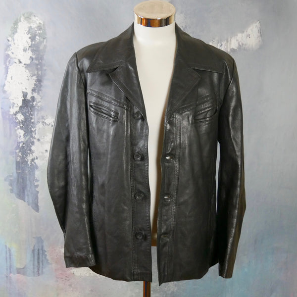 Swedish Vintage Black Leather Jacket: Size Large (40 to 42 US/UK) - DownShifting Vintage Menswear