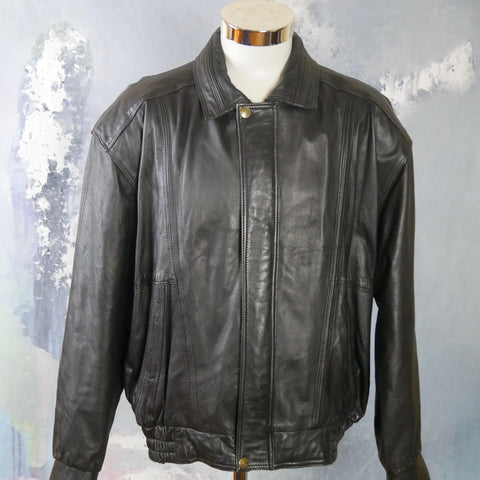 1990s Vintage Black Leather Jacket, Made in Morocco: Size Large (40 to 42 US/UK) - DownShifting Vintage Menswear