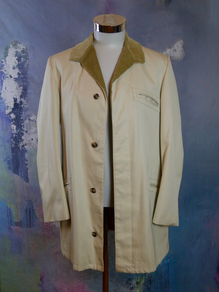 Cream Colored Jacket with Tan Corduroy Collar, 1990s European Vintage Cotton Jacket, Made in Finland: Size 38 - DownShifting Vintage Menswear
