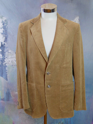 Camel Tan Corduroy Blazer, 1990s European Vintage Single-Breasted Jacket: Size 40 US/UK - DownShifting Vintage Menswear