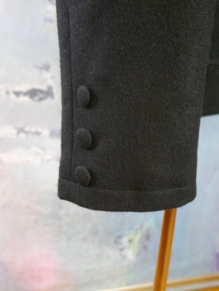 Black Drummer Jacket, European Vintage Military Style Wool Jacket with Band Collar: Size 42 US/UK - DownShifting Vintage Menswear