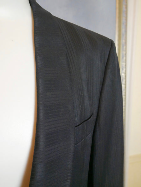 Cropped Tuxedo Jacket, Black-on-Black Striped Formal Smoking Spencer Tux: Size 40 US/UK - DownShifting Vintage Menswear