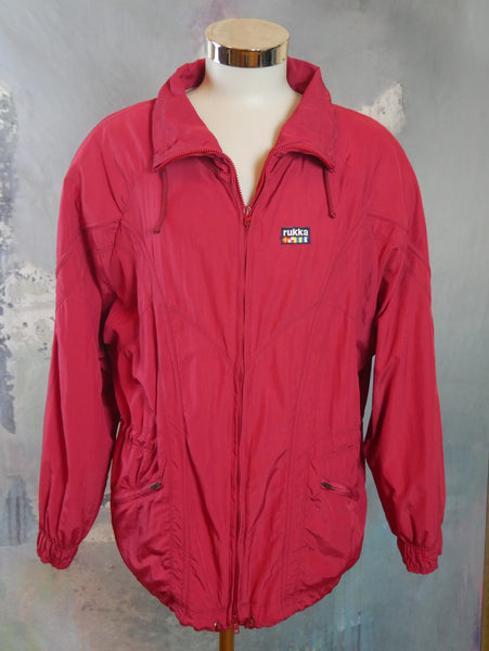RUKKA Red Nylon Jacket, 1990s European Vintage Zippered Sport Windbreaker: Size 42 - DownShifting Vintage Menswear