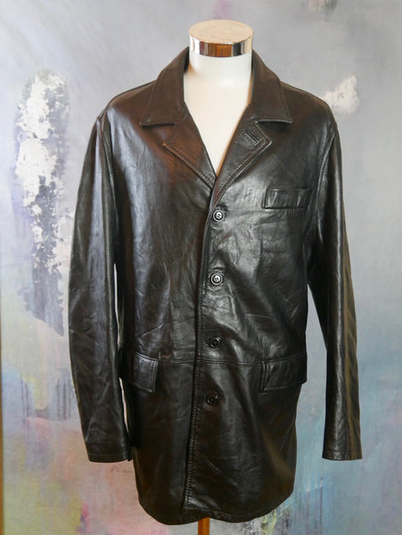 1990s Italian Vintage Black Leather Jacket: Size 42 US/UK - DownShifting Vintage Menswear