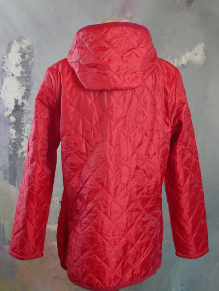 Lavenham Craydon Jacket, 1990s British Vintage Red All-Weather Water-Resistant Jacket with Detachable Hoold: Size 40 US/UK - DownShifting Vintage Menswear