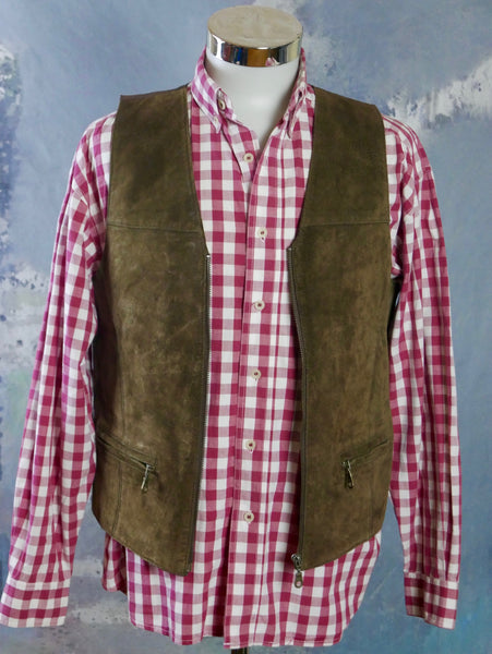 1990s Brown Leather Vest, European Vintage Waistcoat: Size Medium (38 US/UK) - DownShifting Vintage Menswear