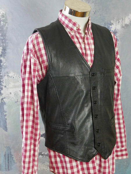 1990s Swedish Vintage Black Leather Vest, Pointed-Front  Waistcoat: Size Large (40 to 42 US/UK) - DownShifting Vintage Menswear