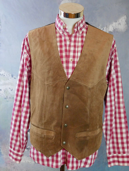 Tan Leather Vest, 1990s French Vintage Light Brown Soft Brushed Leather Waistcoat: Size Large (42 US/UK) - DownShifting Vintage Menswear