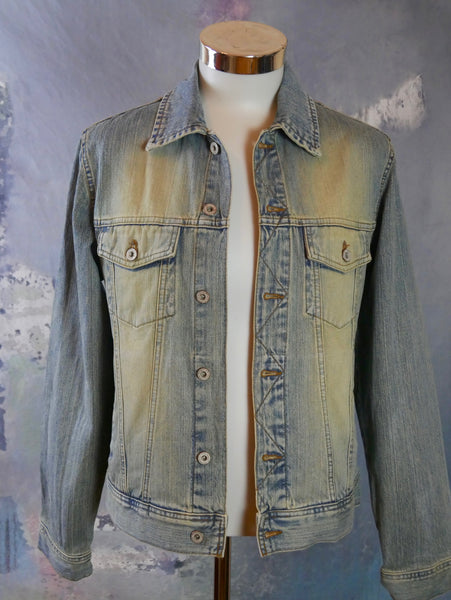1990s Denim Jacket, European Vintage Blue Jeans Jacket: Size 38 US/UK - DownShifting Vintage Menswear