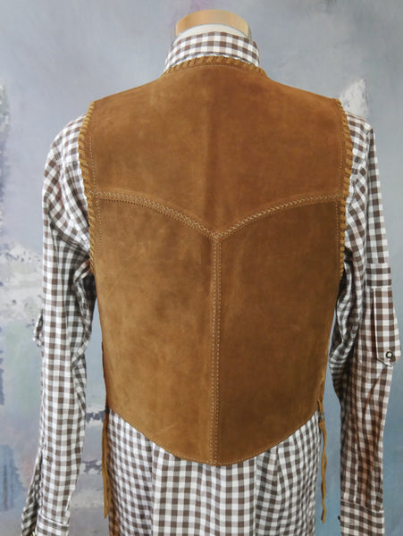 Tan Suede Vest, 1990s Vintage Pointed-Front Light Brown Tan Leather Waistcoat w American Eagle Medallions: Size Medium (36 to 38 US/UK) - DownShifting Vintage Menswear