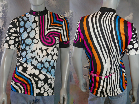 Cycling Jersey, Early 1990s Multicolor Abstract Stephen Roche Cycle Racing Shirt: Large (42 to 44 US/UK) - DownShifting Vintage Menswear