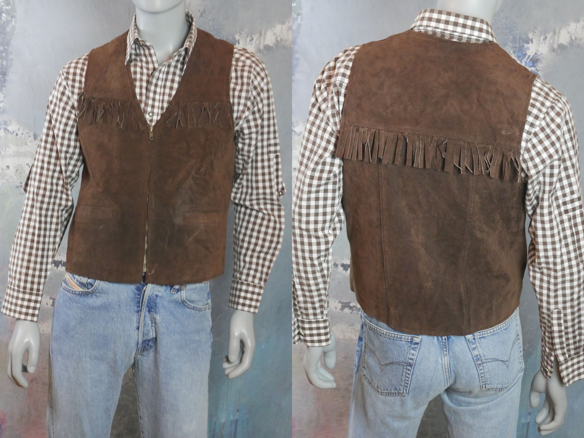 Leather Fringe Vest, 1990s Vintage Zippered Brown Brushed Suede Waistcoat: Size Medium (38 to 40 US/UK) - DownShifting Vintage Menswear