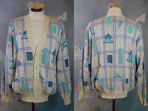 Italian Knit Cardigan, Geometric Pattern in Turquoise and Lavender on a Creamy Beige Background: Size XXL (50 to 52 US/UK) - DownShifting Vintage Menswear