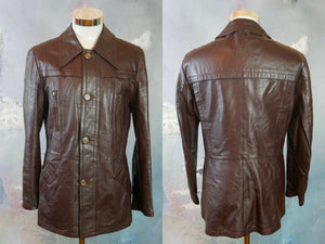Brown Leather Jacket, 1990s Men's European Vintage Soft Leather Jacket: Size Medium (36 to 38 US/UK) - DownShifting Vintage Menswear