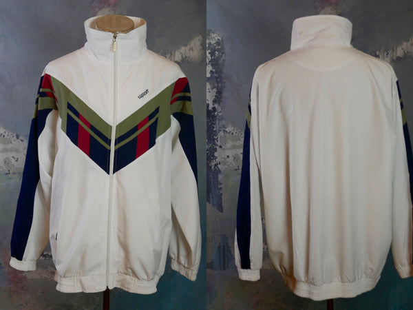 1990s European Vintage Windbreaker Jacket,  White Sports Jacket: Size XXXL (54 to 56 US/UK) - DownShifting Vintage Menswear