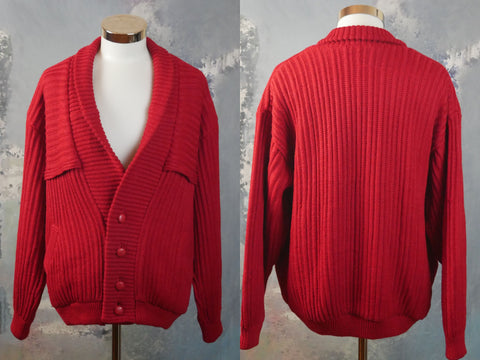 1980s Red Cardigan, Italian Vintage Ribbed Knit Sweater: Size XXL (48 to 50 US/UK) - DownShifting Vintage Menswear